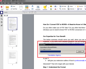 PDF to WORD conversion
